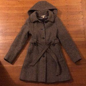 American Rag Tweed Coat w/ Hood - Wool Blend Sz M